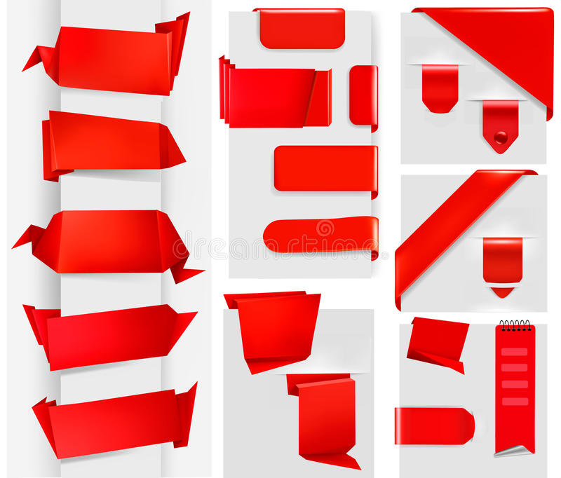 Download Huge Set Of Red Origami Paper Banners And Stickers Stock Illustration - Illustration: 23526726