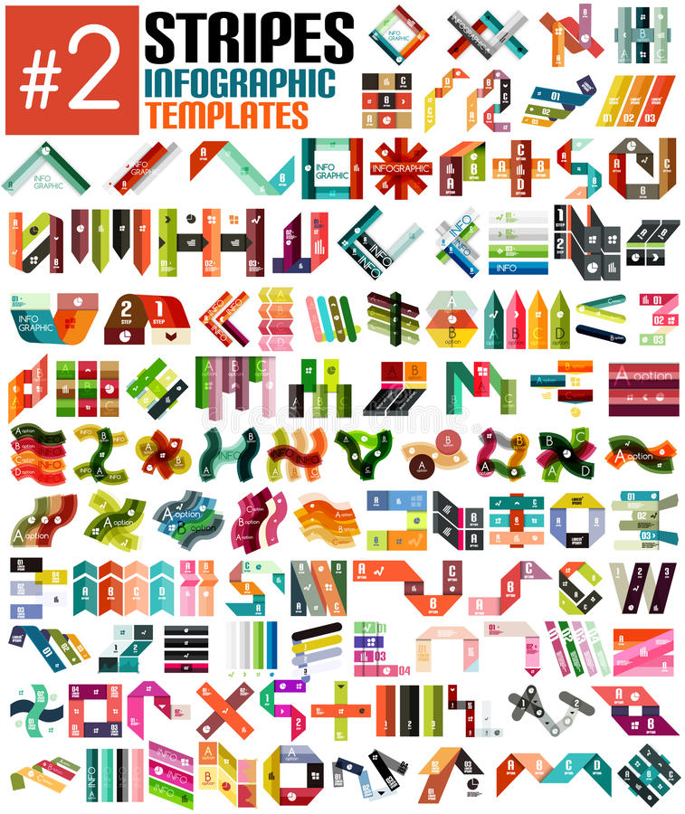 Huge set of stripe infographic templates #2 stock illustration