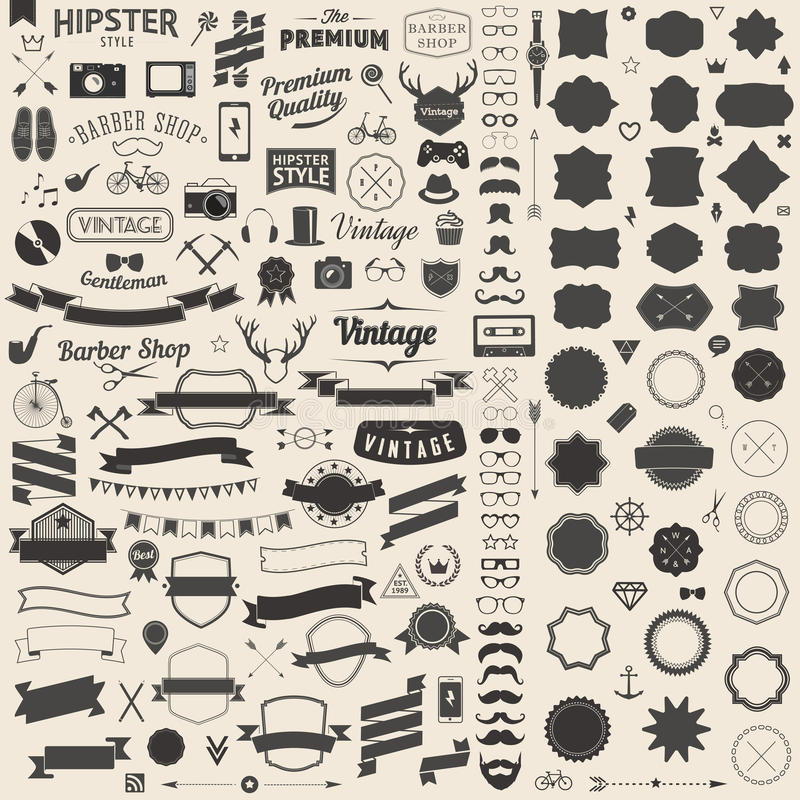 Huge set of vintage styled design hipster icons. Vector signs and symbols templates for your design. stock illustration