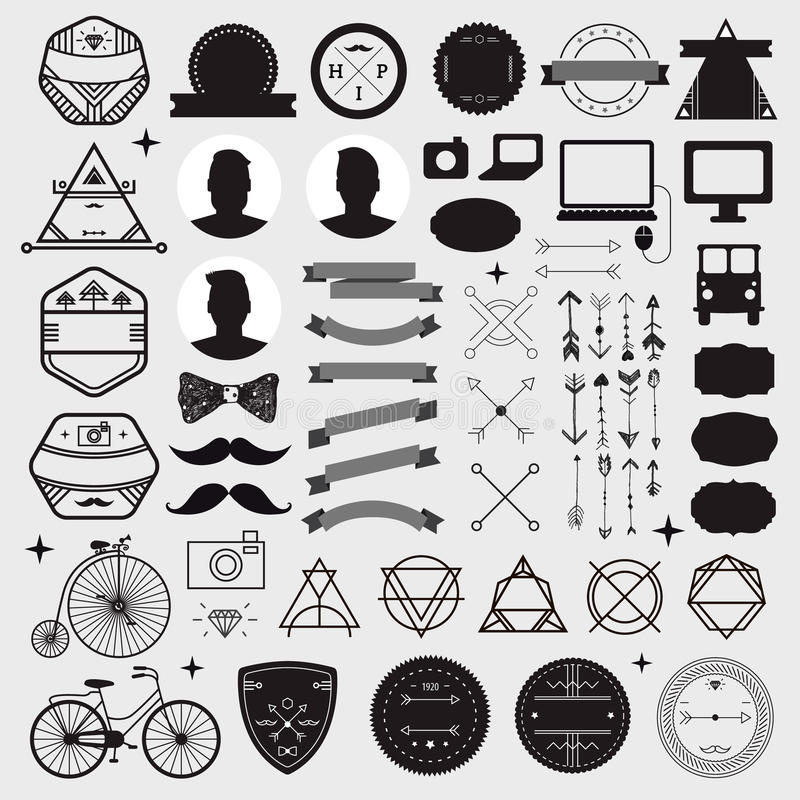 Huge set of vintage styled design hipster icons stock illustration