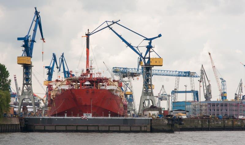 Huge ship building dock stock photos