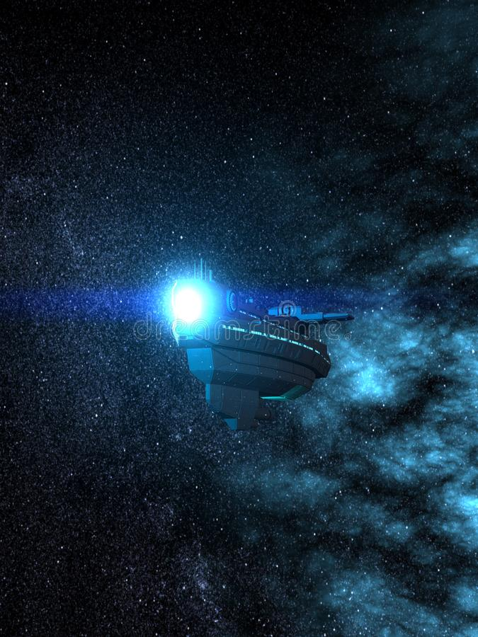 Space Cruiser in Front of a Beautiful Nebula 3D-Rendering royalty free illustration