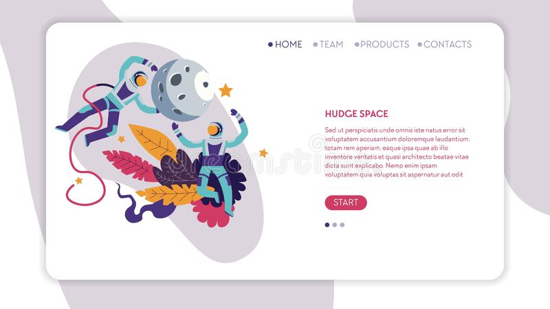 Huge space spacemen or astronauts and moon web page template. Spacemen or astronauts and moon huge space web page template vector natural satellite exploration stock illustration