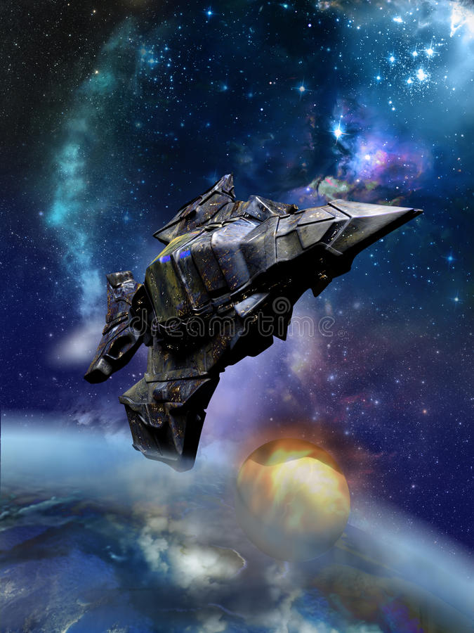 Huge spaceship. Close to a satellite smaller than it, above an alien planet vector illustration
