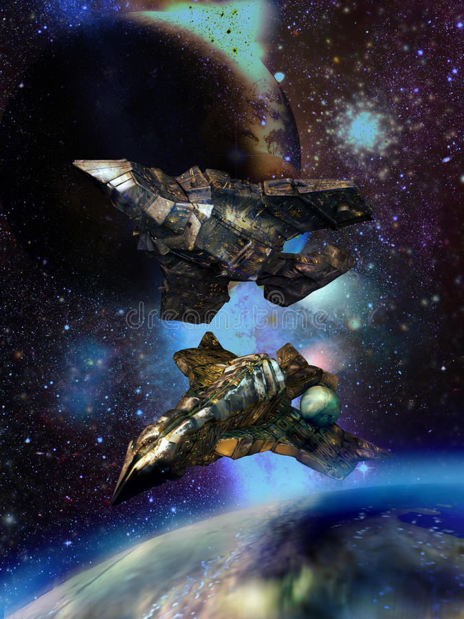 Huge spaceships close to alien planets. Huge spaceships, close to a satellite smaller than them, above an alien planet stock illustration