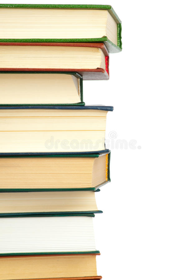Huge stack of books. Isolated on white background stock image