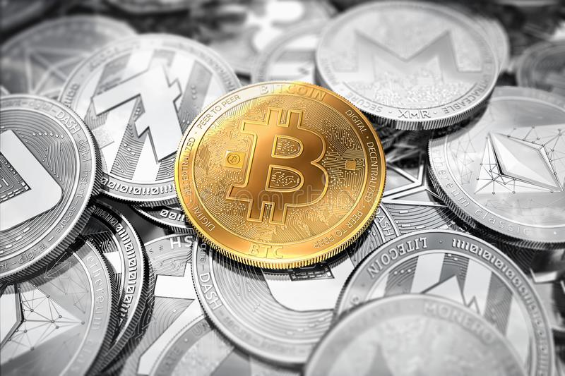 Huge stack of cryptocurrencies with a golden bitcoin on the front as the leader. Bitcoin as most important cryptocurrency. Concept stock illustration
