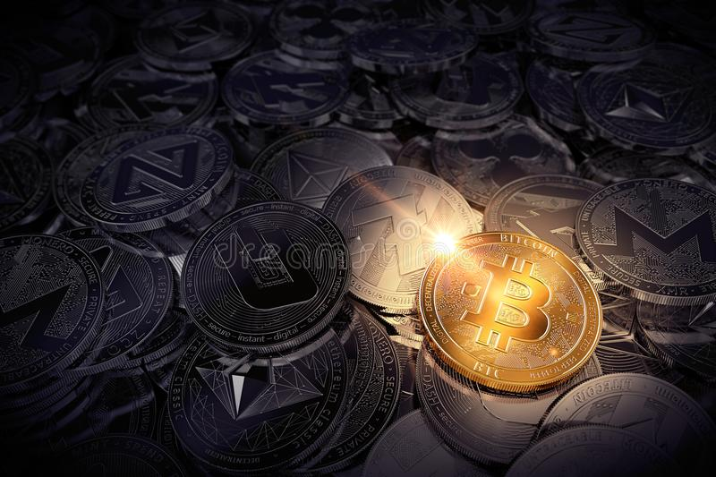 Huge stack of physical cryptocurrencies with Bitcoin on the front as the leader of new virtual money. 3D rendering vector illustration