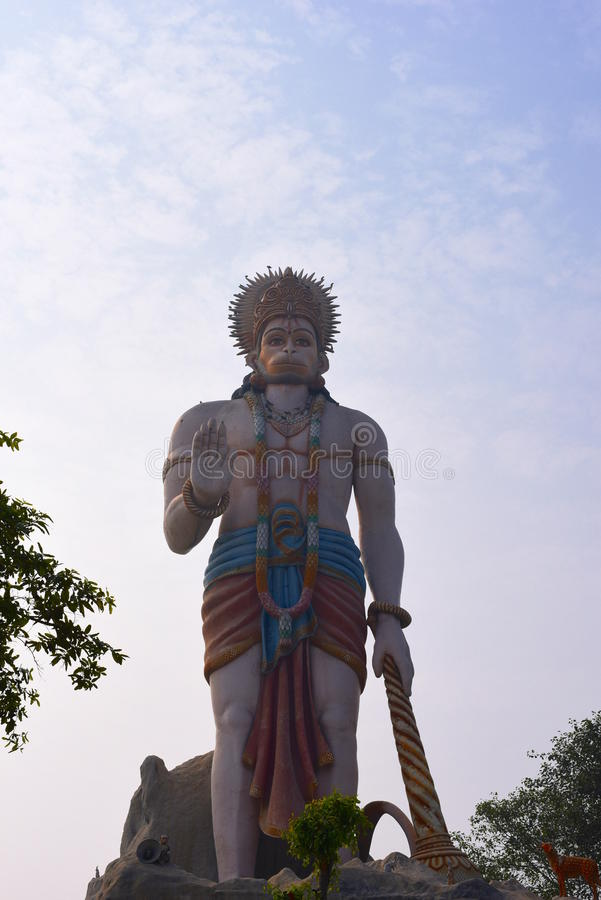 Huge statue of Hindu God Hanuman in Agroha Dham, a very famous Hindu Temple in Agroha, Haryana, India. Agroha Dham, a very famous Hindu Temple in Agroha, Haryana stock photos
