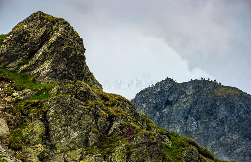 Huge stone on the edge of a hill stock photos