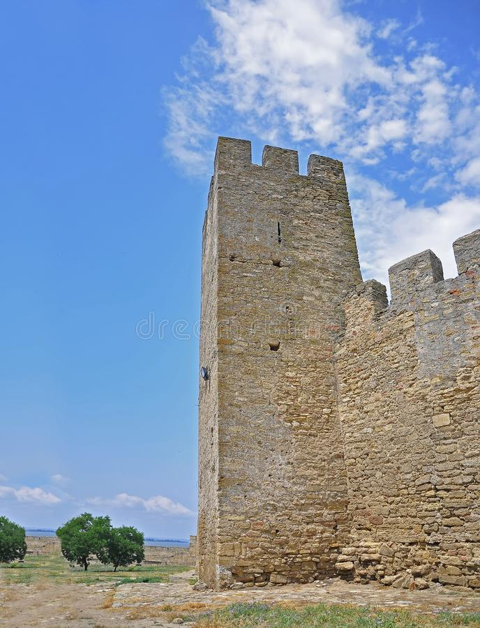 The huge stone walls of the ancient Akkerman fortress, Belgorod-Dniester, Odessa region. Ukraine architecture castle landmark medieval old bastion tower brick royalty free stock photo