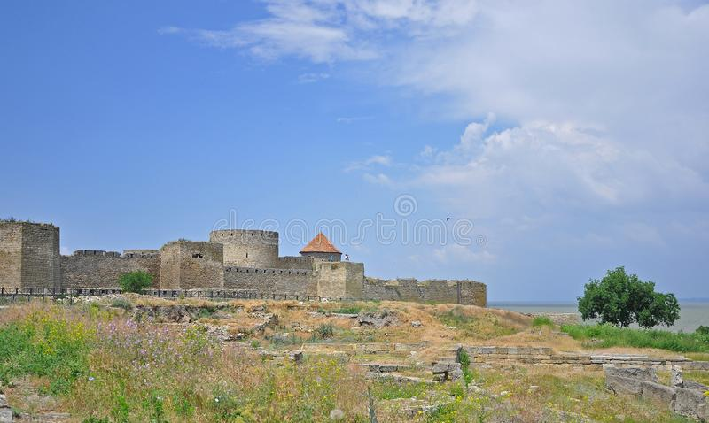 The huge stone walls of the ancient Akkerman fortress, Belgorod-Dniester, Odessa region. Ukraine architecture castle landmark medieval old bastion tower brick royalty free stock image