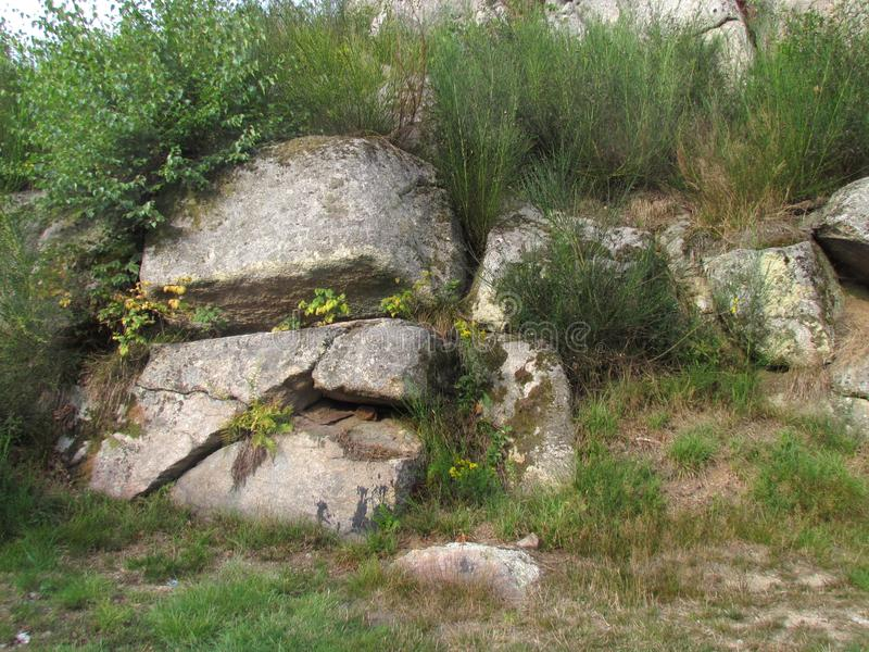 Huge stones in nature, rock resembling a skull. Natural rock formation royalty free stock photos