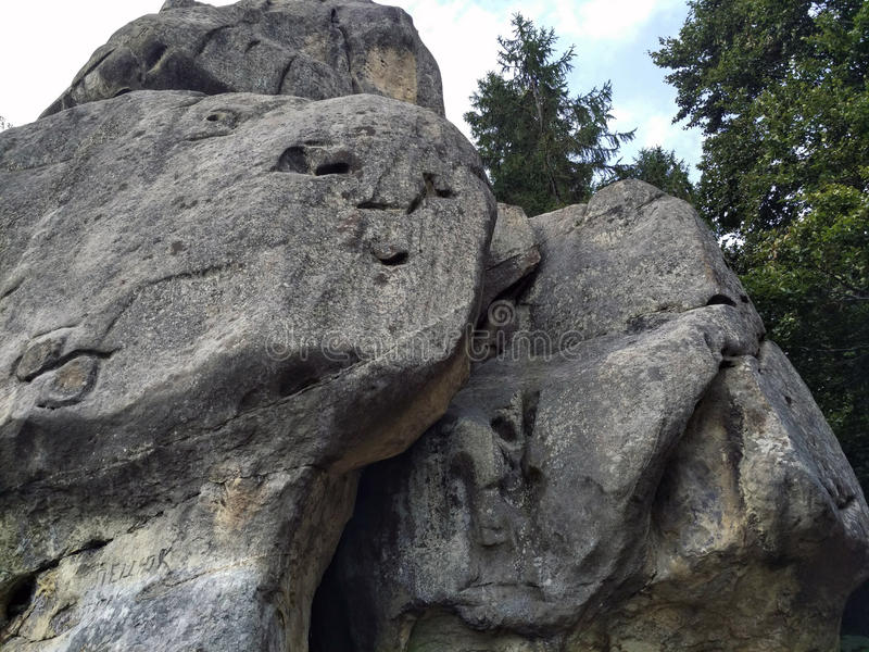 Huge stones with a picture. Tustan, Carpathian Mountains, Ukraine royalty free stock images