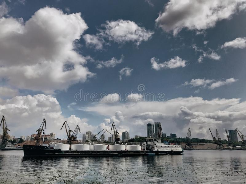 Huge tanker in the river royalty free stock photos