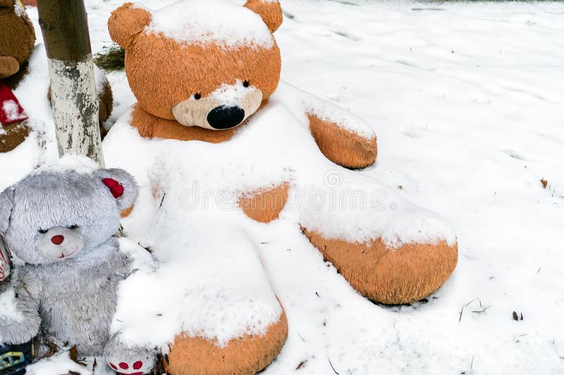 A huge teddy bear is sitting in the snow a symbol of loneliness download a huge teddy bear is sitting in the snow a symbol of loneliness stock altavistaventures Choice Image