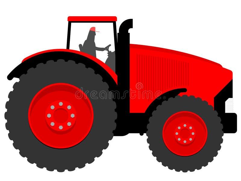 Huge tractor. Farmer on huge red tractor stock illustration