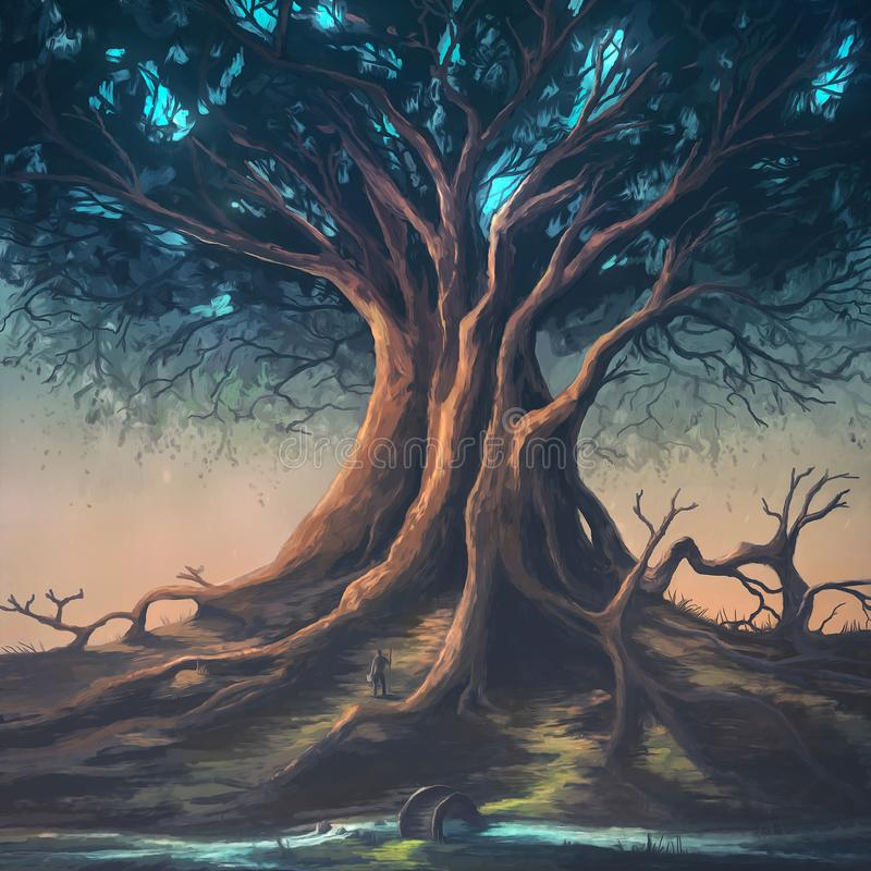 Huge tree at dusk with bright stars. Digital painting of a peaceful nature scene with a large tree vector illustration