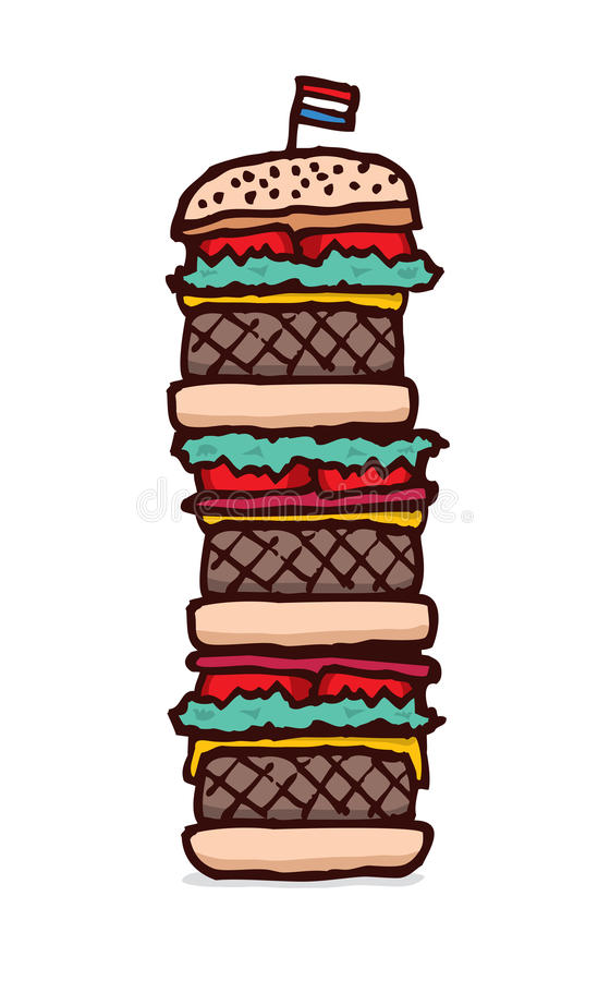 Download Huge triple cheesburger stock vector. Illustration of drawing - 39511223