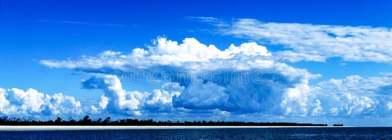 Magnificent white Cumulonimbus cloud in blue sky. Australia. stock photography