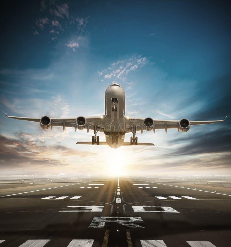 Huge two storeys commercial jetliner taking of runway. stock images