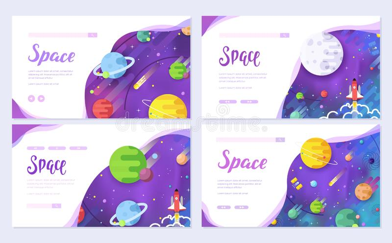 Huge universe vector brochure cards. Outline outer space rocket template of flyear, web banner, ui header, enter site royalty free illustration