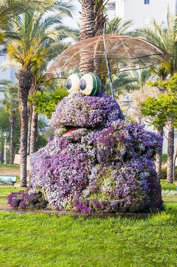 Huge vibrant frog holding umbrella flowerbed sculpture in public park of Ashdod Israel. Ashdod, Israel - May 09, 2012: Huge vibrant frog holding umbrella royalty free stock images