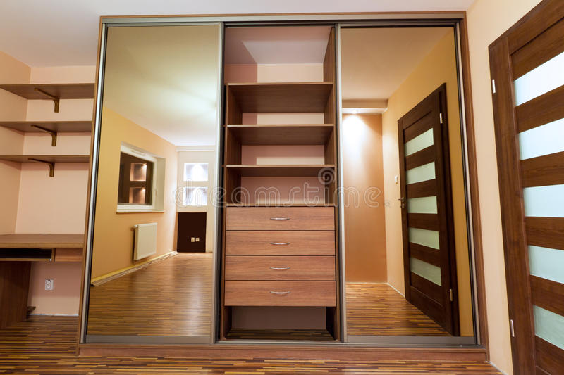 Huge wardrobe of the modern apartment royalty free stock photo