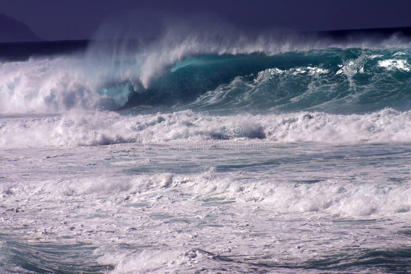 Huge Wave. A huge waves crashes at Pipeline, HI stock photography