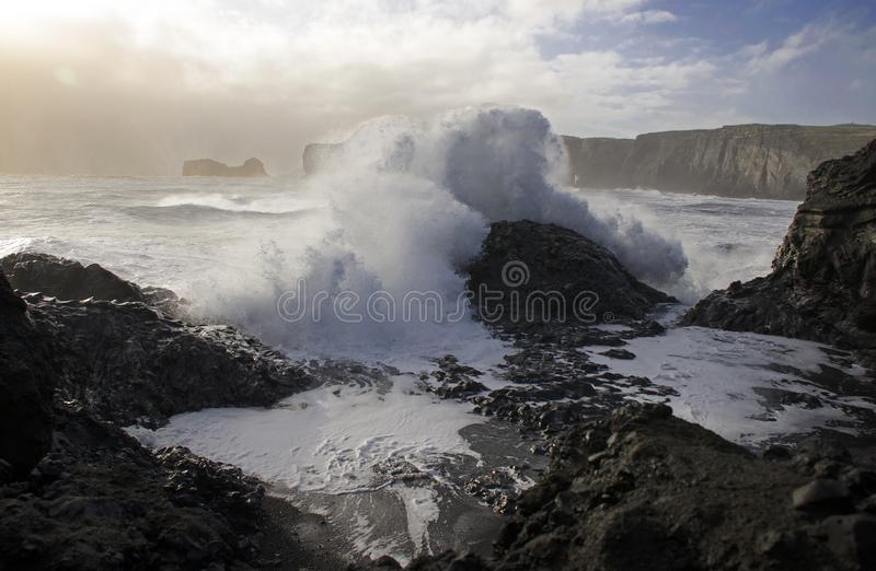 a huge wave from the Atlantic Ocean covers black volcanic stone on the black lava sand bank in Iceland royalty free stock images