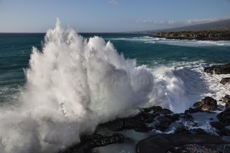 Wave Bomb. A huge wave breaks in Hawaii royalty free stock photography