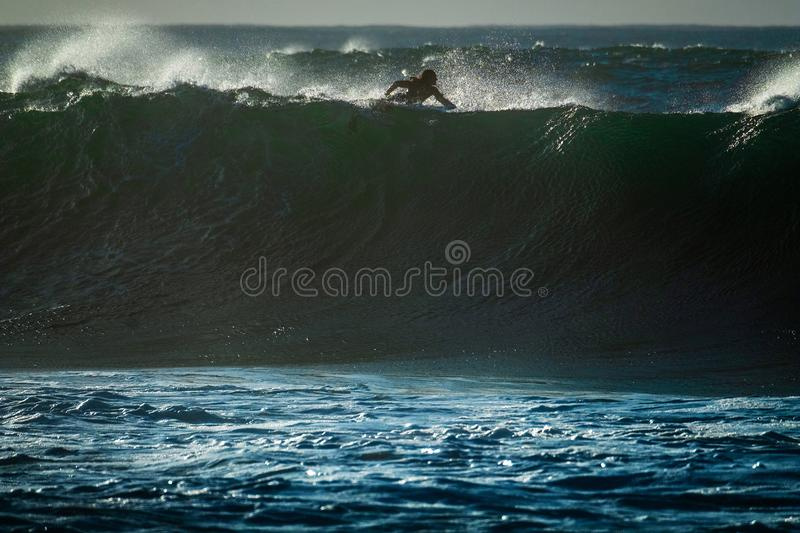 Huge wave of the Pipeline surf spot royalty free stock photo