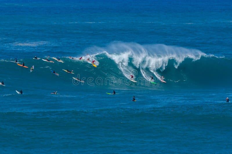 Big wave Waimea Bay Packed royalty free stock image