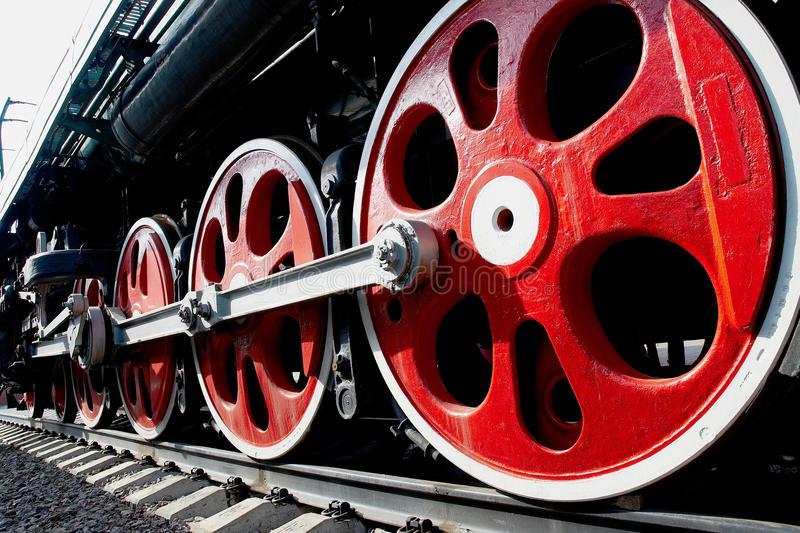 Huge wheels of old steam locomotive royalty free stock images