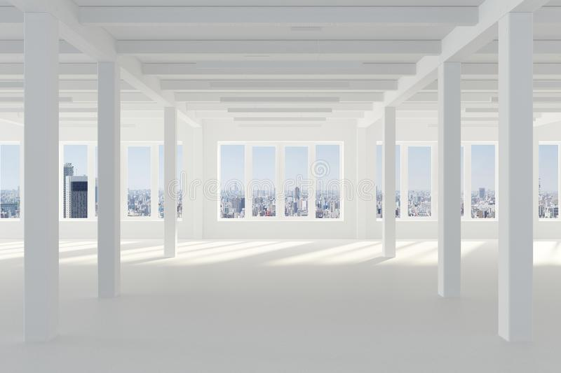 Huge white empty room with large Windows overlooking the metropolis, columns and beams in the loft style. Concrete floor and light brick wall in a modern stock illustration