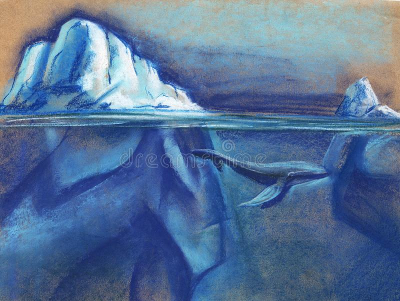 A huge white iceberg in the Arctic starry night sky. Blue whale. Painted with pastel on paper illustration. A huge white iceberg in the Arctic starry night sky royalty free stock photography
