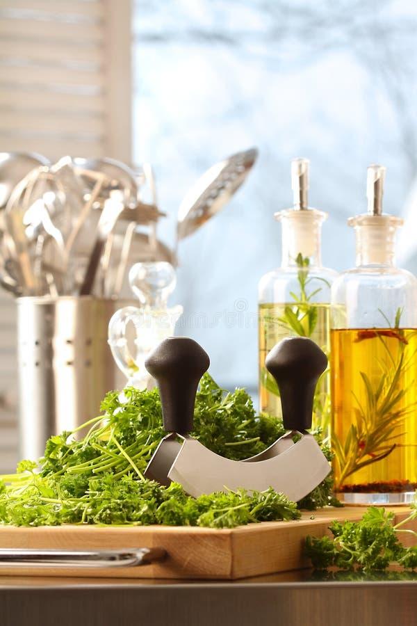 huggen av ny parsley royaltyfri fotografi