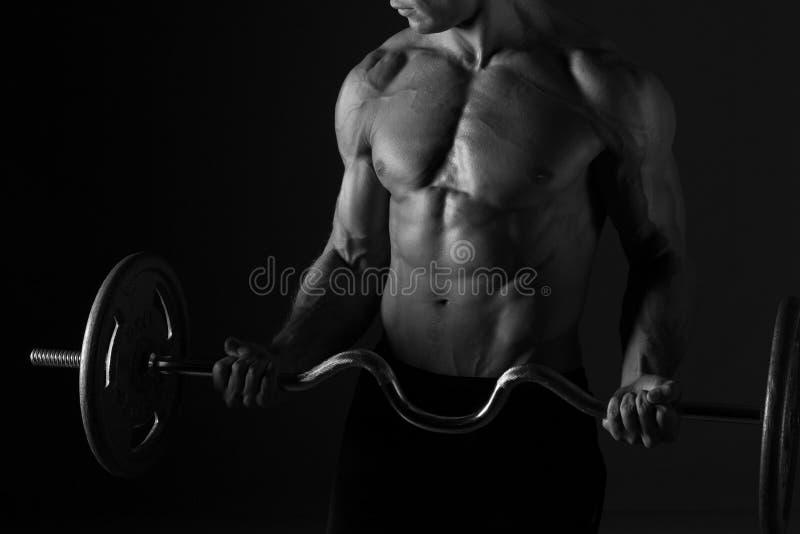 Huggen torso och skivstång fotografering för bildbyråer