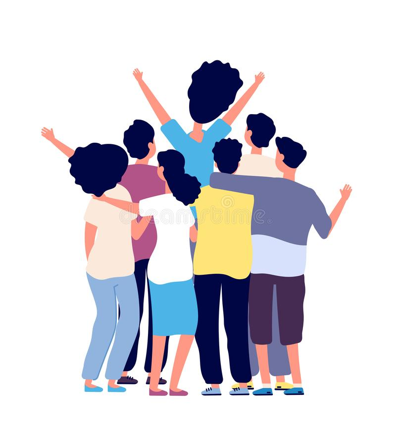 Hugging friends. Young people group together. Friendship between people, best friend. Friendship day flat vector concept stock illustration