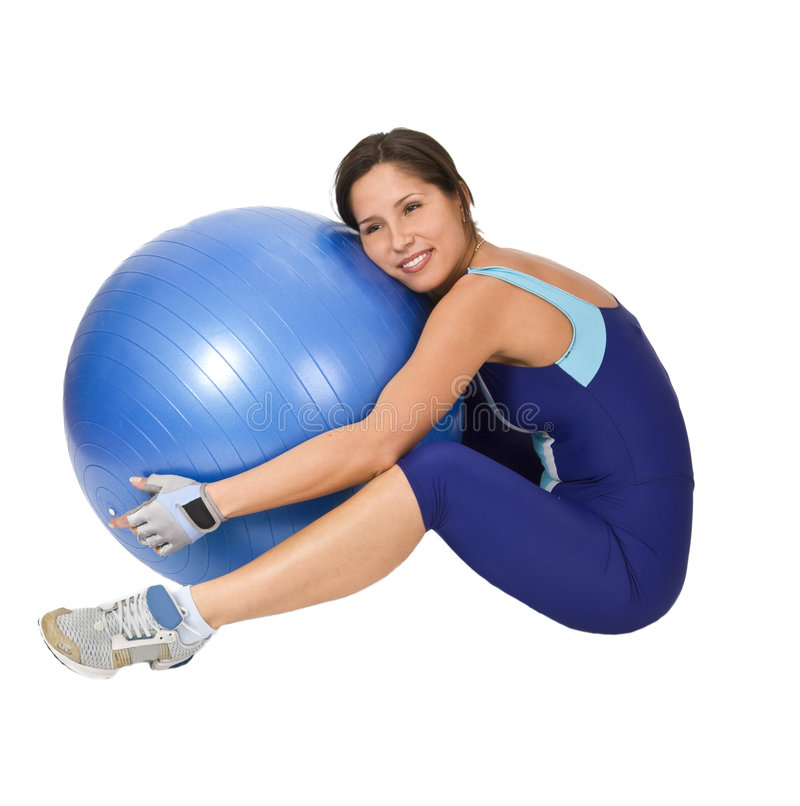 Download Hugging the gym ball stock photo. Image of fitness, active - 4136366