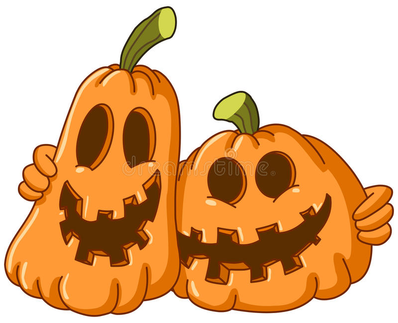 Hugging pumpkins stock illustration