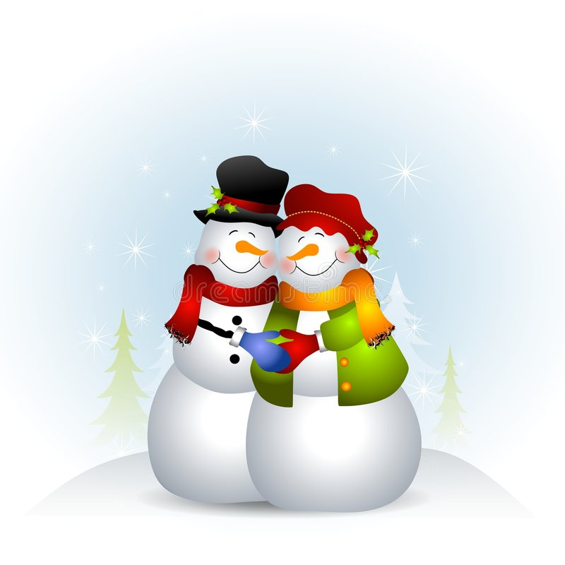Hugging Snowman Couple Stock Photography