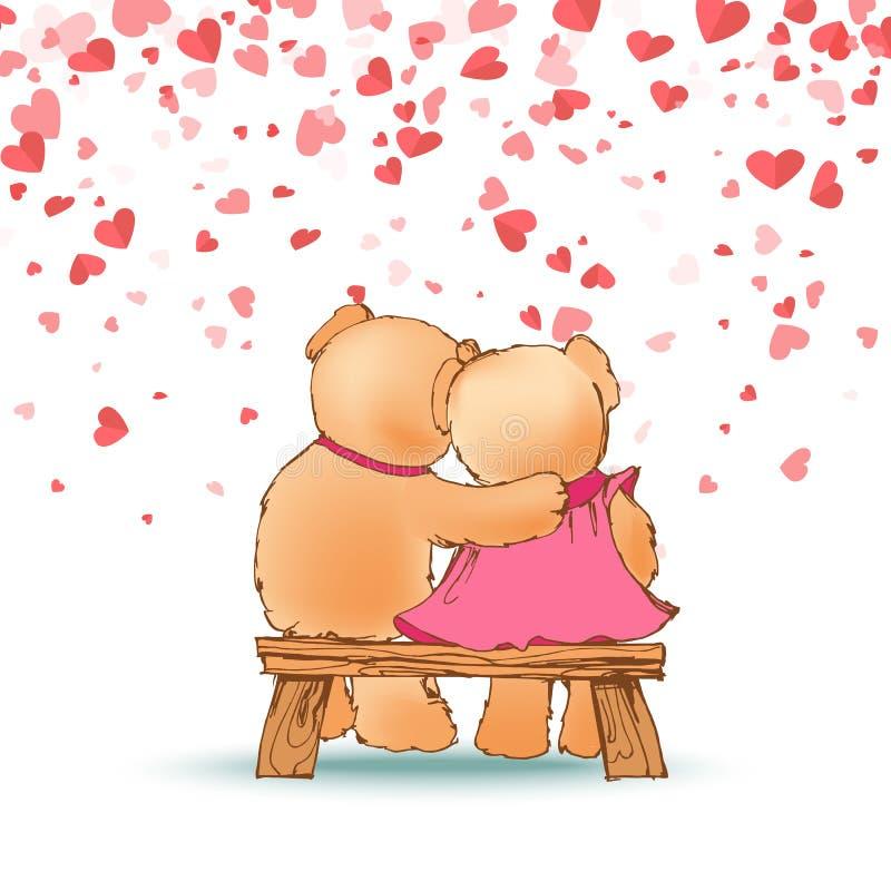 Hugging Teddy Bears Sitting on Wooden Bench Vector stock illustration