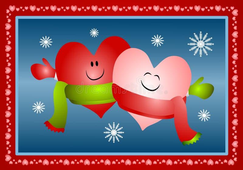 Hugging Xmas Hearts Wearing Scarves royalty free stock photo