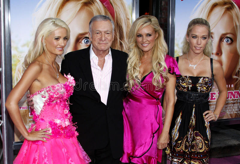 Hugh Hefner, Holly Madison, Bridget Marquardt and Kendra Wilkinson royalty free stock photo