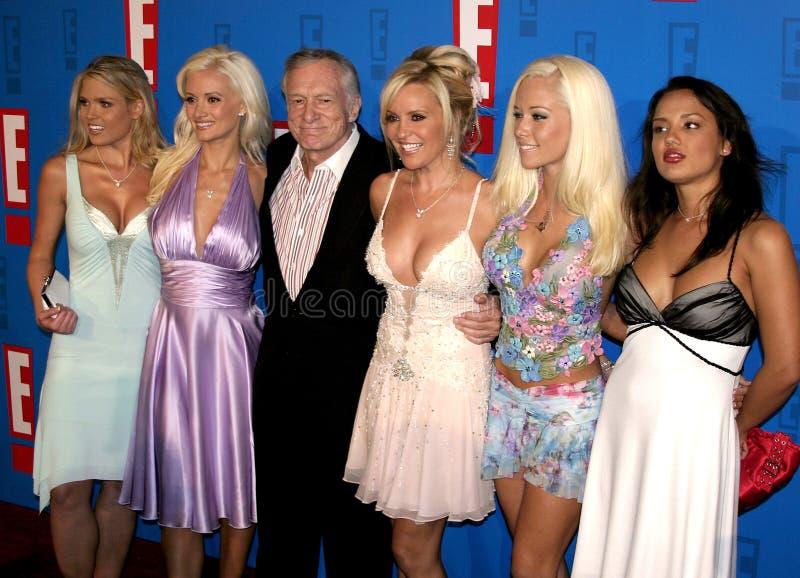Hugh Hefner, Holly Madison, Kendra Wilkinson y Bridget Marquardt imagen de archivo libre de regalías