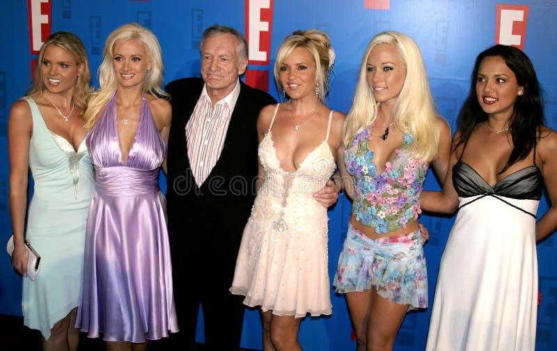 Hugh Hefner, Holly Madison, Kendra Wilkinson y Bridget Marquardt fotografía de archivo