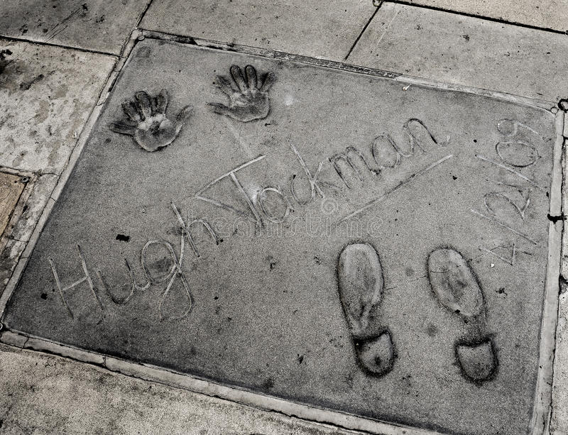Hugh Jackman handprints in Hollywood royalty-vrije stock fotografie