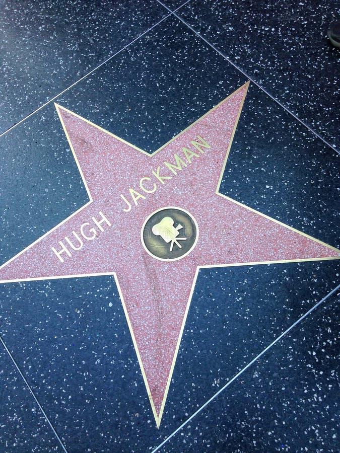 Hugh Jackman Hollywood går av berömmelsestjärnan royaltyfri bild