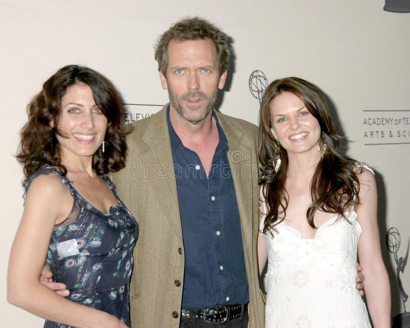 Hugh Laurie, Jennifer Morrison, Lisa Edelstein stock afbeeldingen